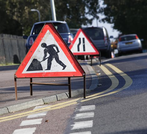 Roadworks signs
